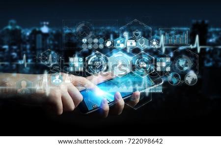 Businessman on blurred background using digital medical interface 3D rendering #722098642