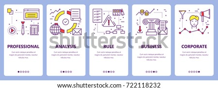 Set of criteria concept vertical banners. Professional, analysis, rule, business and corporate concept elements. Thin line flat design symbols, icons for website menu, print. #722118232