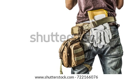 clipping path Adult construction man site manager or building site foreman worker turn back Carry Tooling isolated white background #722166076