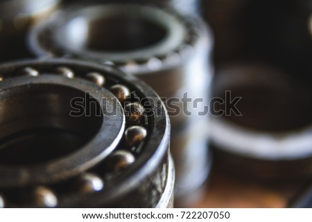 Machinery concept. Set of various gears and ball bearings old and new #722207050
