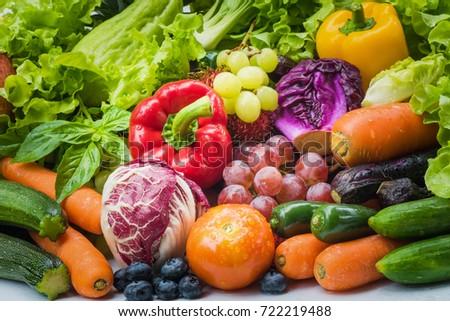 Fresh vegetables after washed, Fresh vegetables organic for eating healthy #722219488