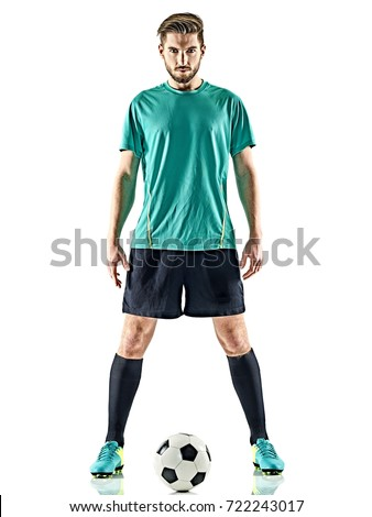 one caucasian soccer player man standing with football isolated on white background Royalty-Free Stock Photo #722243017