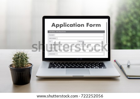 business man working on laptop computer use Online Web Job Application Form moniter Royalty-Free Stock Photo #722252056