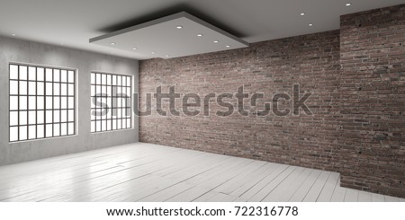 Empty room with big window in loft style. Wooden floor and brick wall in a modern interior. 3D render. Royalty-Free Stock Photo #722316778