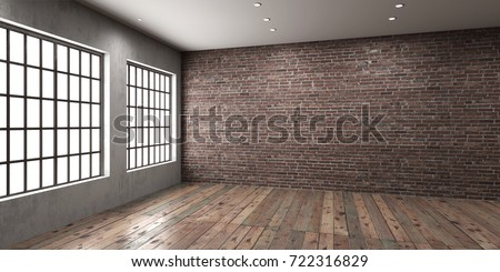 Empty room with big window in loft style. Wooden floor and brick wall in a modern interior. 3D render. Royalty-Free Stock Photo #722316829