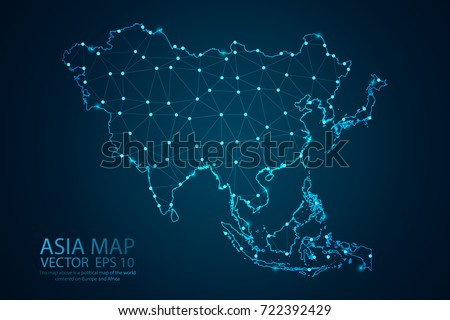 Abstract mash line and point scales on dark background with map of Asia. Wire frame 3D mesh polygonal network line, design sphere, dot and structure. Vector illustration eps 10. Royalty-Free Stock Photo #722392429