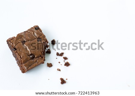 a piece of homemade delicious chocolate brownie, white background. #722413963