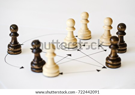 chessmen - figures depicting relations between people, social behavior - group dynamics Royalty-Free Stock Photo #722442091