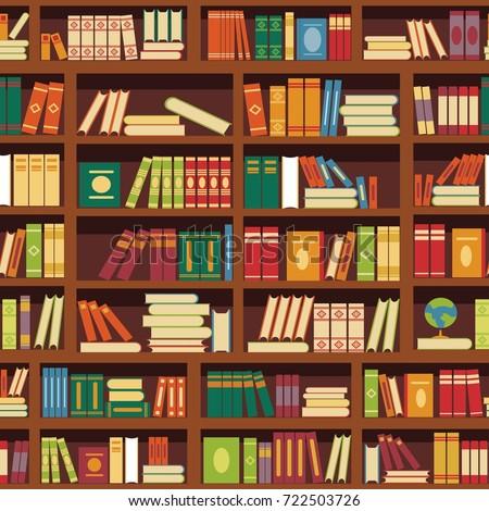 Library book shelf seamless vector pattern of literature books