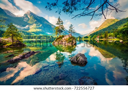 Picturesque summer scene of Hintersee lake. Colorful morning view of Austrian Alps, Salzburg-Umgebung district, Austria, Europe. Beauty of nature concept background. #722556727