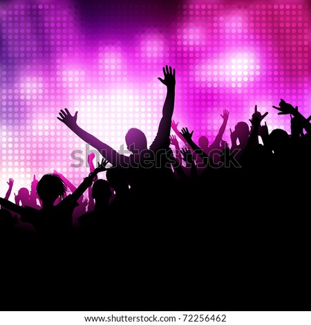A group of people having a good time. Crowd infront of a stage. Vector