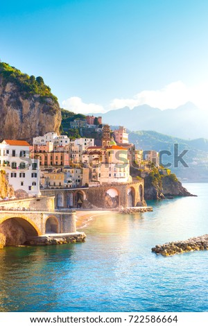 Morning view of Amalfi cityscape on coast line of mediterranean sea, Italy  #722586664