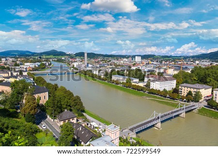 Panoramic aerial view of Salzburg, Austria in a beautiful day #722599549