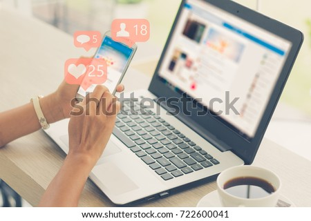 Young girl using smart phone,Social media concept. #722600041