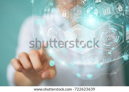 Businesswoman on blurred background using holograms datas digital sphere 3D rendering #722623639