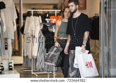 Turin, Italy-July 1, 2017: Shopping for summer sales in Turin, Italy #722664382