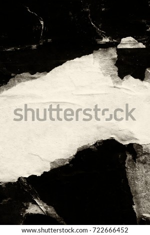 Old grunge ripped torn vintage collage posters creased crumpled paper surface texture background placard backdrop/ Space for text Royalty-Free Stock Photo #722666452