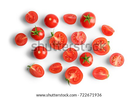 Fresh cherry tomatoes on white background Royalty-Free Stock Photo #722671936