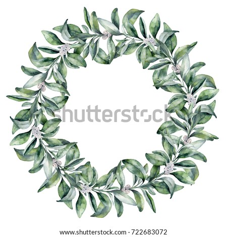 Watercolor snowberry wreath. Hand painted border with snowberry branch and white berry isolated on white background. Christmas botanical clip art for design or print. Holiday plant