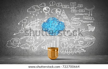 Lightbulb with cloud from gears inside placed against sketched business plan information on grey wall. 3D rendering.