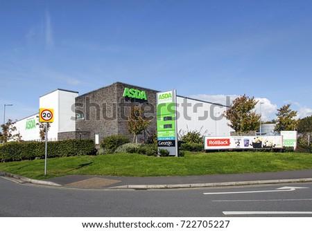 Swansea, UK: September 19, 2017: Asda Supermarket. Asda Stores Limited is an American-owned, British-founded supermarket retailer, headquartered in Leeds, West Yorkshire.  #722705227