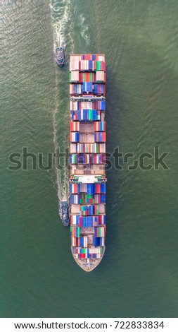 container,container ship in import export and business logistic,By crane,Trade Port , Shipping,cargo to harbor.Aerial view,Water transport,International,Shell Marine,transportation,logistic,trade,port #722833834