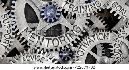 Macro photo of tooth wheel mechanism with MENTORING, MOTIVATION, TRAINING, GOAL, SUCCESS, SUPPORT and ADVICE concept letters Royalty-Free Stock Photo #722893732