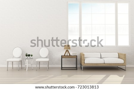 White wall and wood floor with sofa in living room.Comfort space with background. -3d rendering #723013813