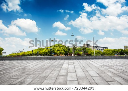 cityscape and skyline of chongqing in cloud sky on view from empty floor #723044293