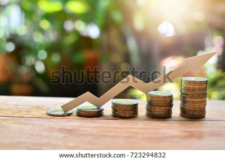 coins money increase to profit for concept investment fund finance and business Royalty-Free Stock Photo #723294832