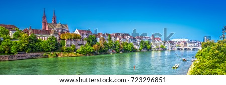 Old city center of Basel with Munster cathedral and the Rhine river, Switzerland, Europe. Basel is a city in northwestern Switzerland on the river Rhine and third-most-populous city.  #723296851