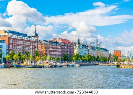 View of a marina in the Kruununhaka district of Helsinki, Finland. #723344830