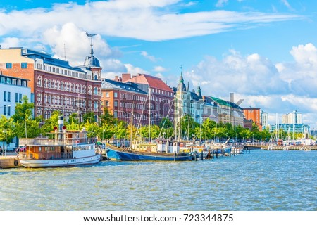 View of a marina in the Kruununhaka district of Helsinki, Finland. #723344875