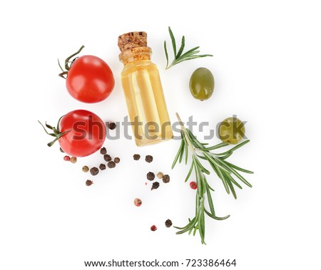 Bottle with rosemary oil, tomatoes and spice on white background #723386464