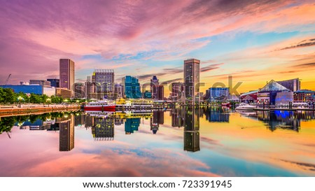 Baltimore, Maryland, USA skyline on the Inner Harbor.