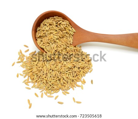 yellow rice isolated on white background #723505618