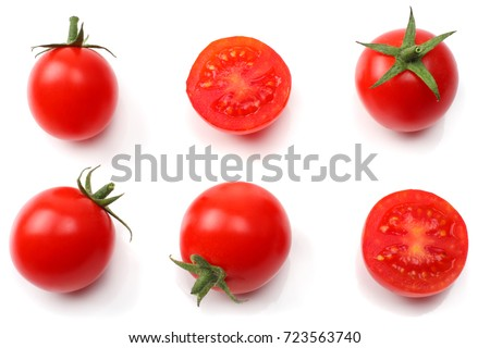 slice of tomato isolated on white background. top view #723563740