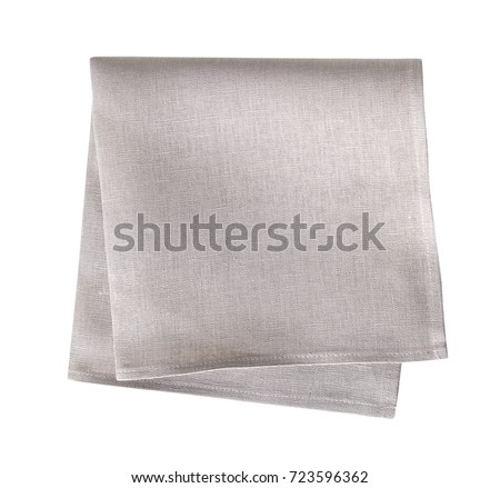 Kitchen grey towel,folded cloth isolated. #723596362