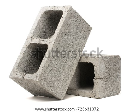 Gray Cement Cinder Block Isolated On White Background Royalty-Free Stock Photo #723631072