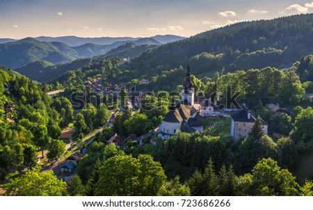 Idyllic small mining village Spania Dolina in the mountains #723686266