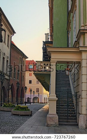 Empty cobblestone street and old buildings at the Old Town in Prague, Czech Republic on a sunny morning. #723767260