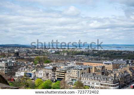 Edinburgh, Scotland, April 2016: Edinburgh city view from the castle wall #723772402