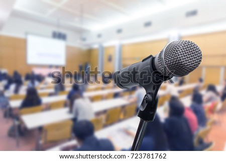 Microphone over the blurred business people forum Meeting Conference Training Learning Coaching Concept, Blurred background #723781762