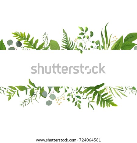 Vector floral greenery card design: Forest fern frond Eucalyptus branch green leaves foliage herb greenery yellow berries frame. Wedding invite poster invitation Watercolor hand drawn art illustration