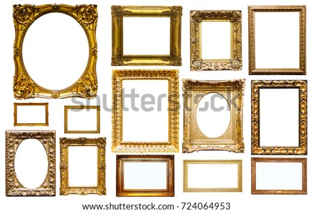 assortment of golden and silvery art and photo frames isolated on white background #724064953