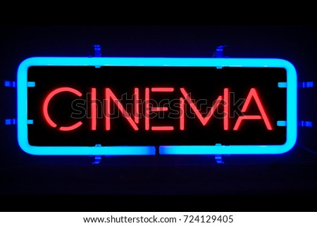 3D rendering flickering blinking blue neon sign on black background, cinema movie film entertainment sign concept