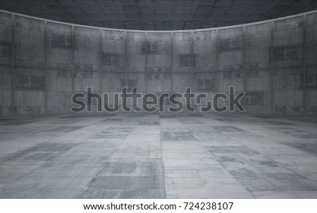 Abstract  concrete interior multilevel public space with window. 3D illustration and rendering. #724238107