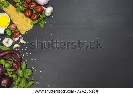 Fresh vegetables. Food background. Top view. Organic food #724256164