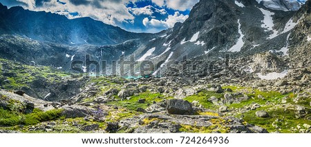 mountain range with lake valley, national park in Altai republic, Siberia, Russia #724264936
