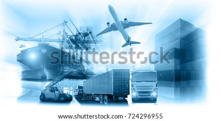 Logistics global technology transportation concept, Container Cargo ship and Cargo plane with working crane bridge in shipyard at sunrise, logistic import export and transport industry background #724296955